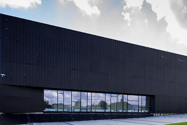 Perforated anodized aluminium facade