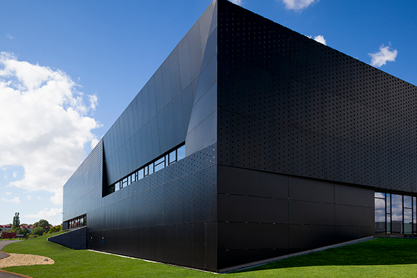 Inspirational perforated metal facade